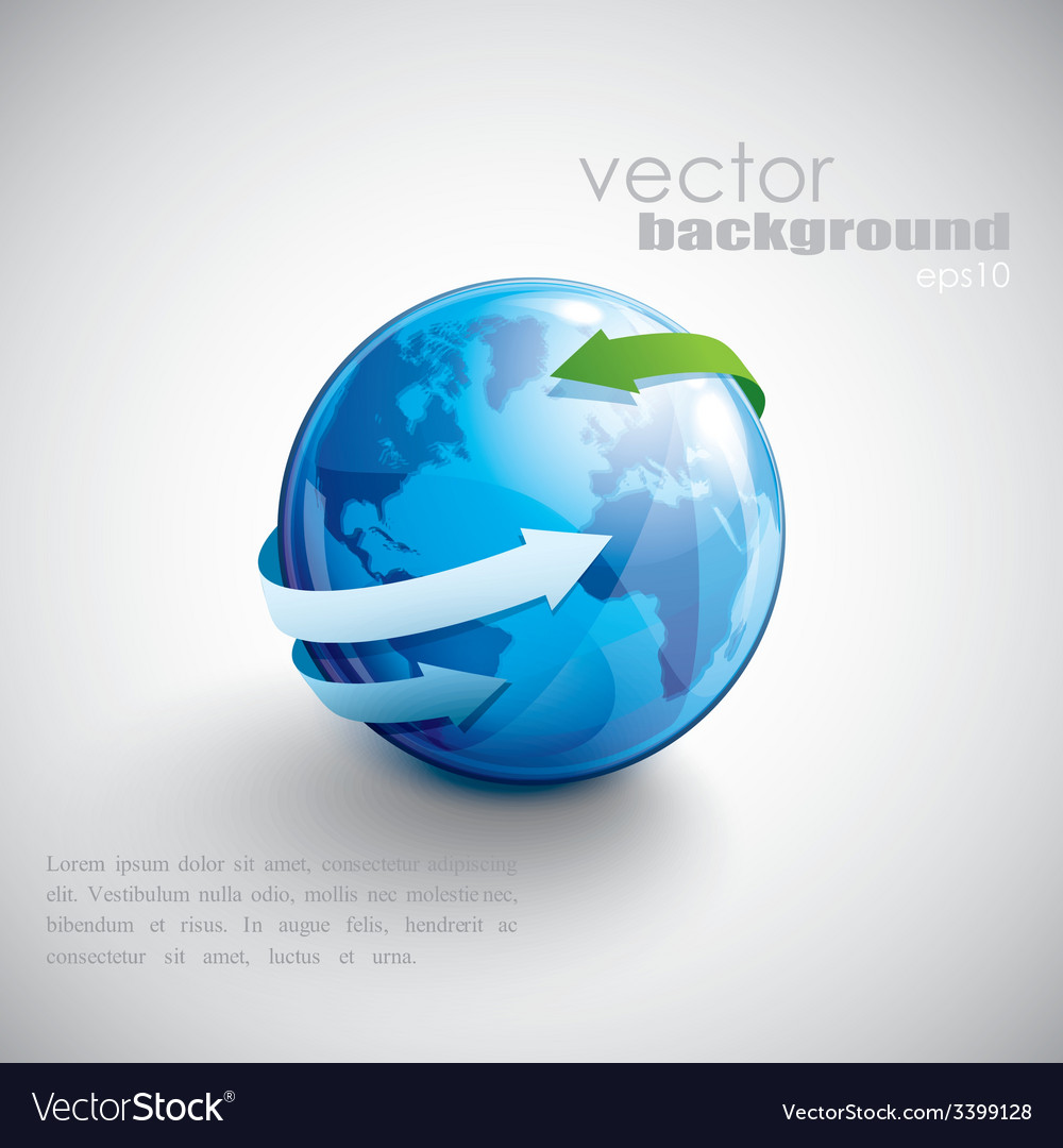 Business concept design with blue globe and arrows vector