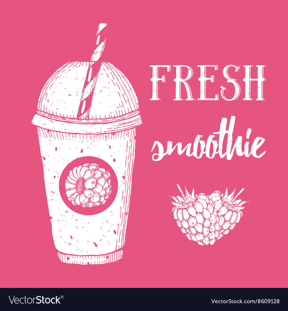 Fresh raspberry smoothie vector