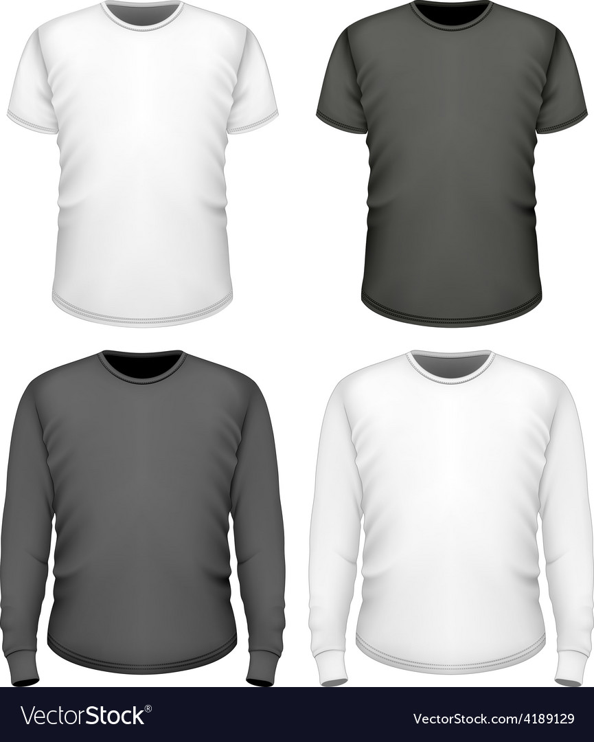 Men tshirt short and long sleeve vector