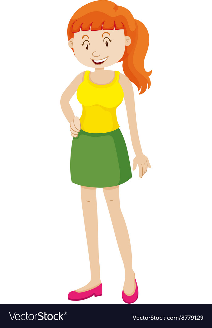 Woman in green skirt vector