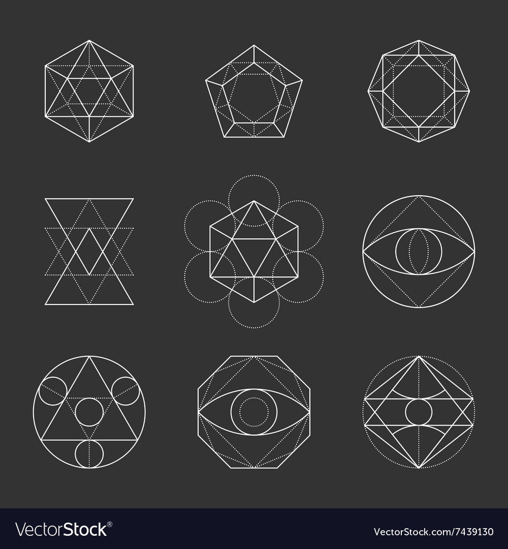 Sacred geometry shapes spirituality alchemy vector