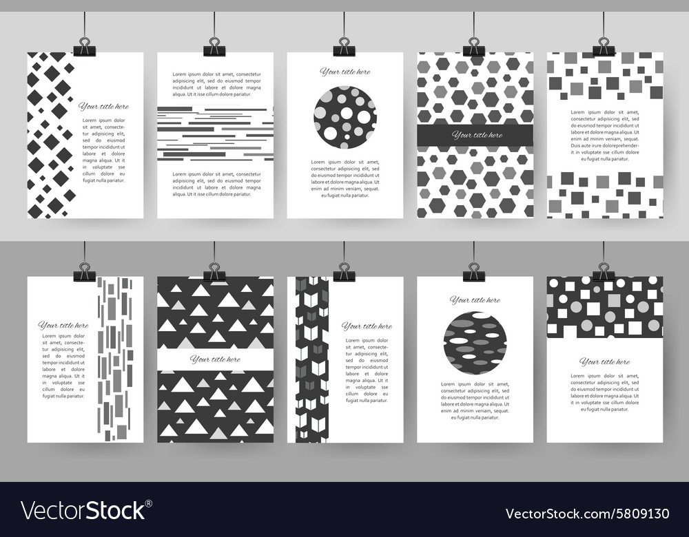 Set of creative black and white vintage cards vector