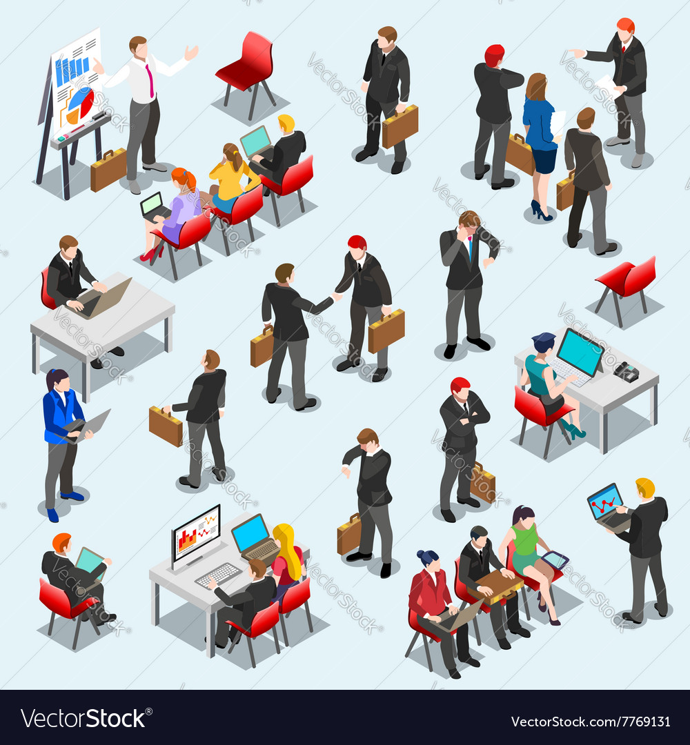 Business data set isometic people vector