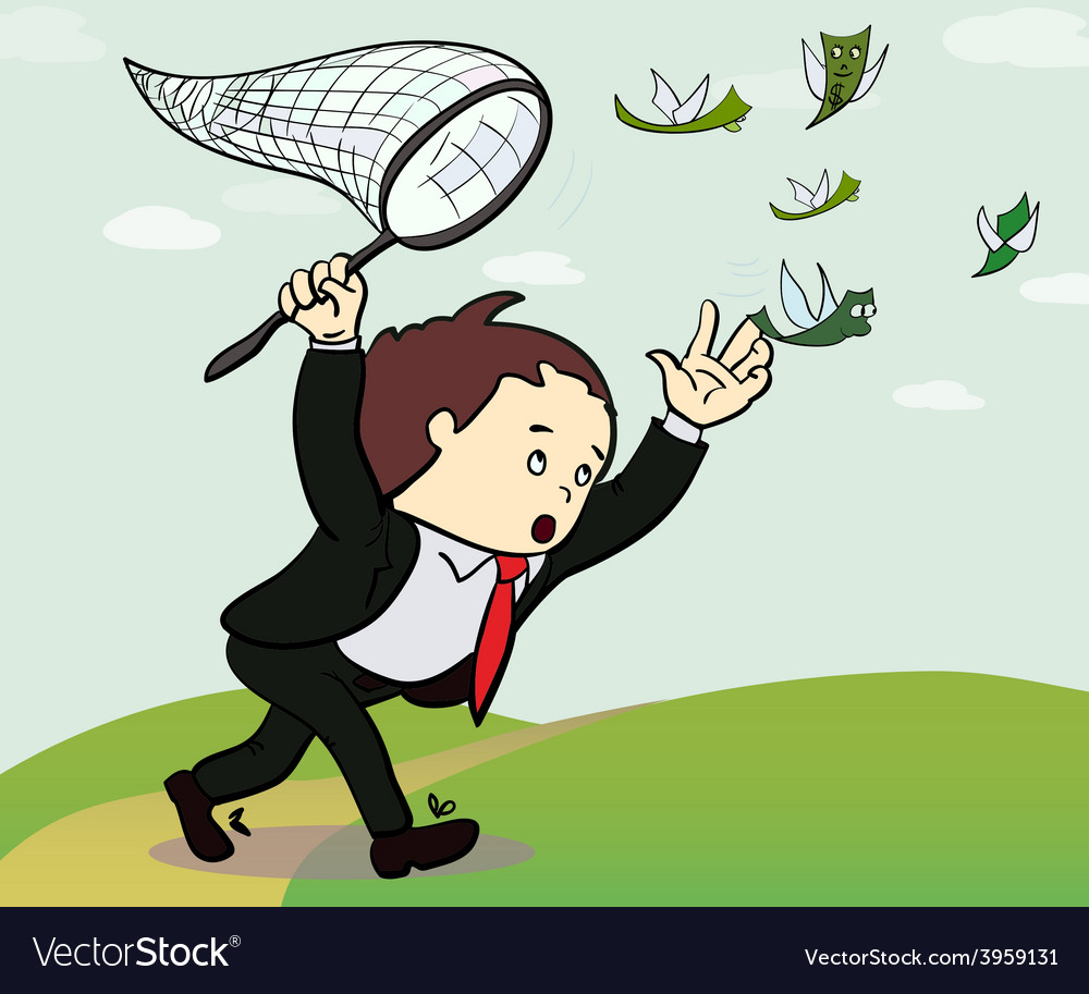 Businessman catch a money manager vector