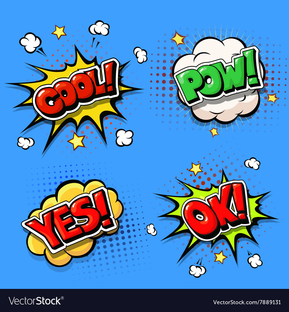 Set of comic speech bubbles and dynamic explosion vector