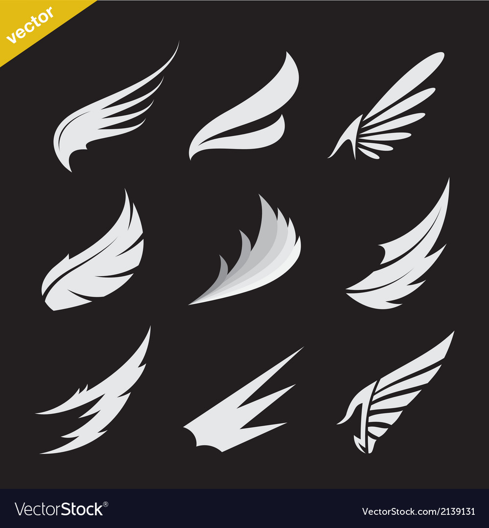 White wing icons set vector