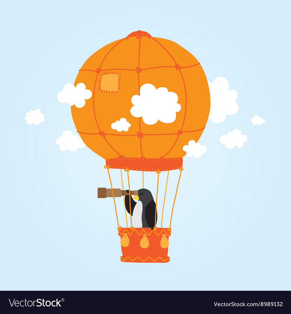 Penguin in clouds vector