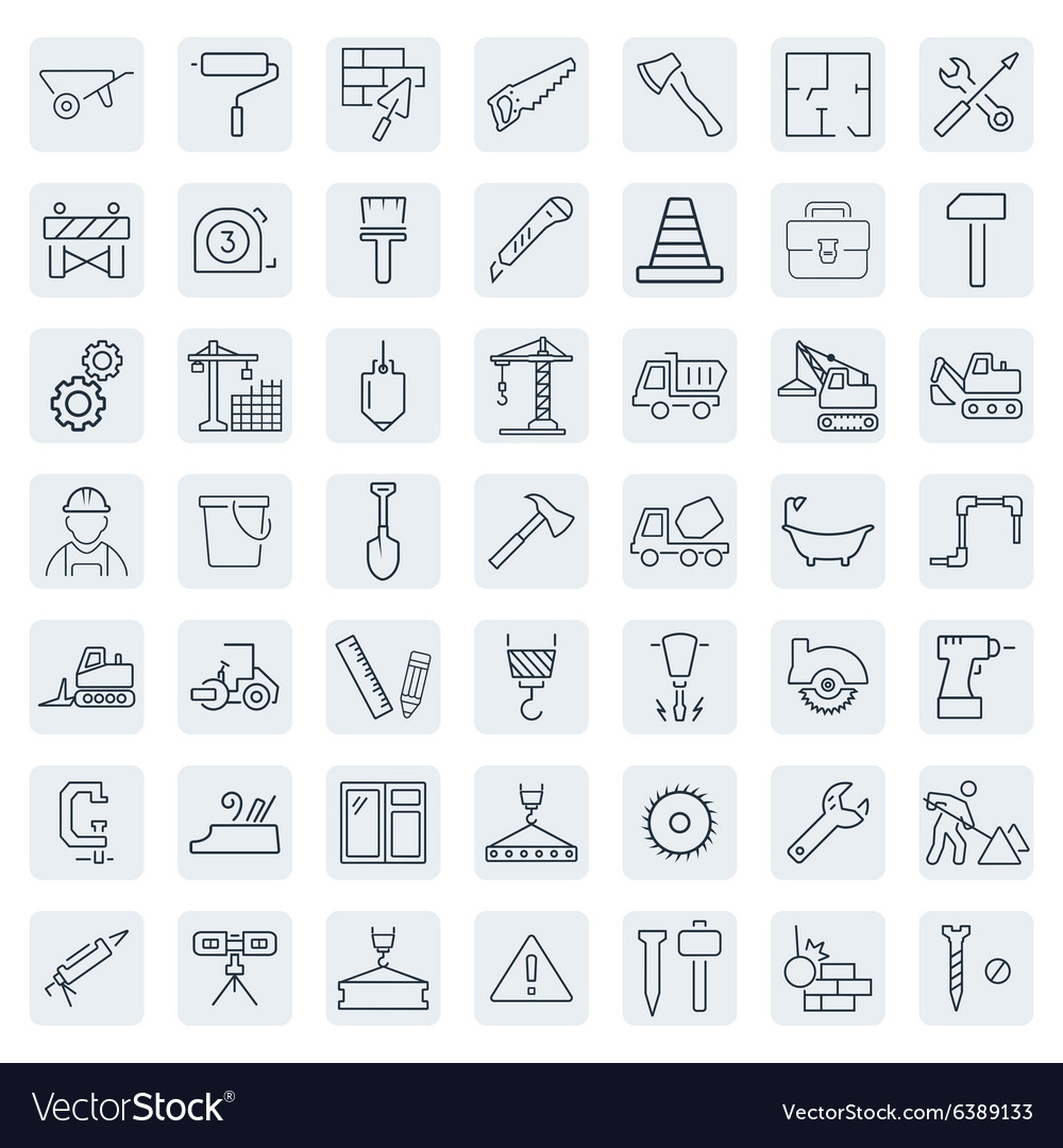 Outline web icons set  building construction and vector