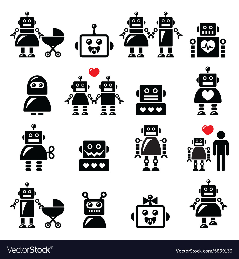 Robot family female baby robot icons set vector
