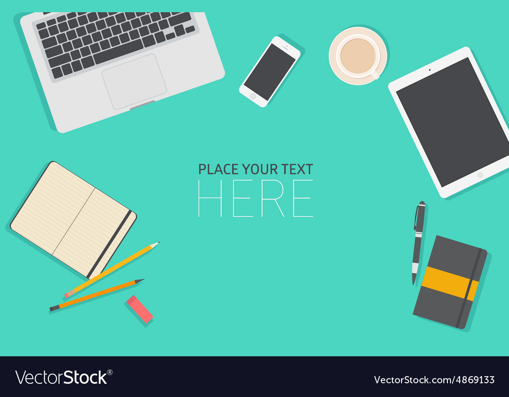 Set of flat business office vector