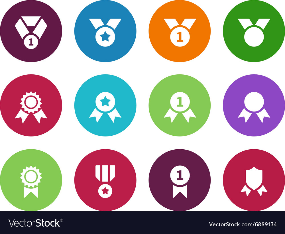 Medal circle icons on white background vector