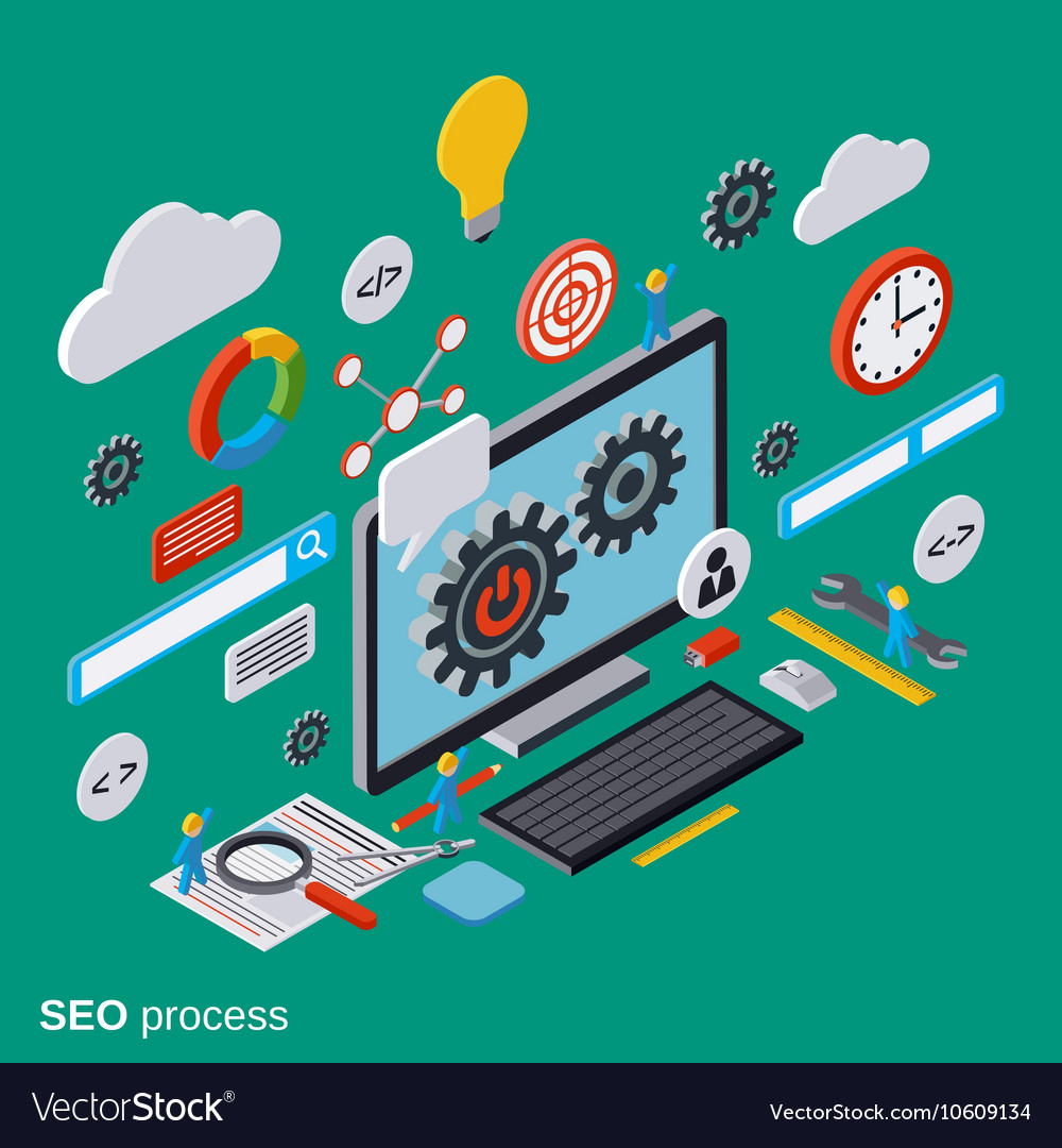 Seo optimization flat isometric concept vector