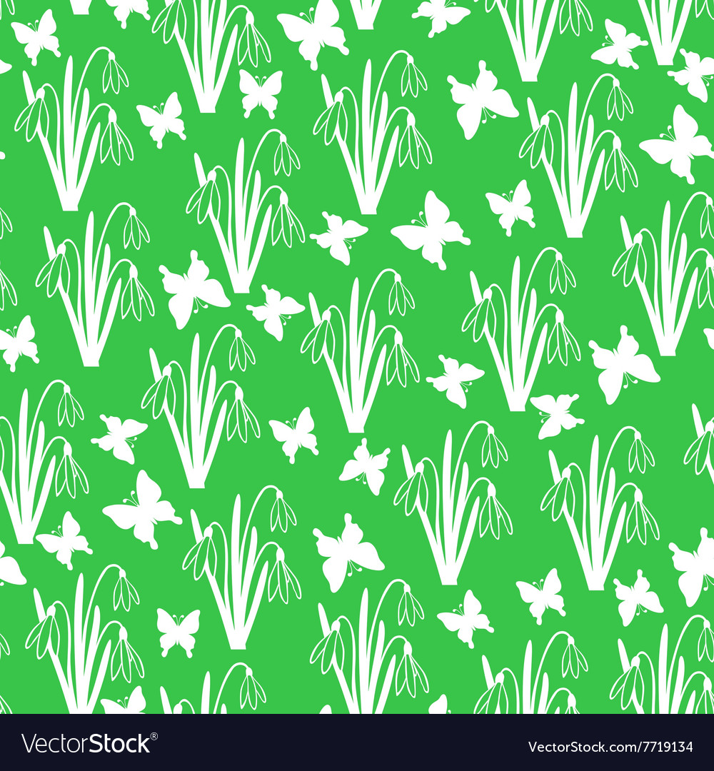 Snow butterfly pattern green vector