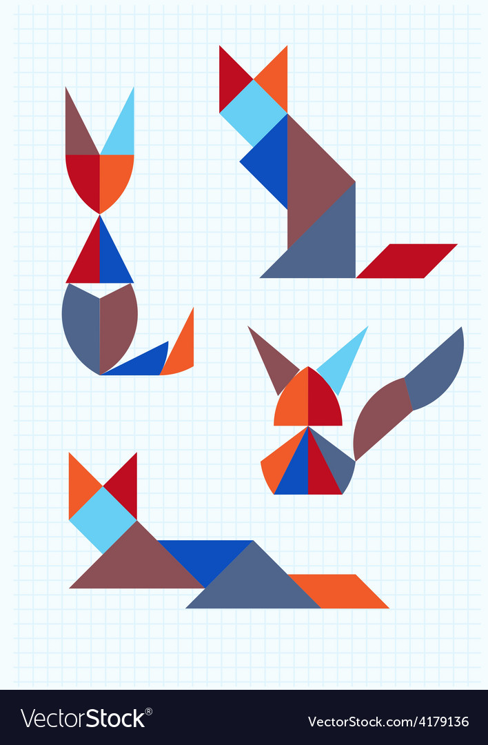 Cats in different poses tangram vector