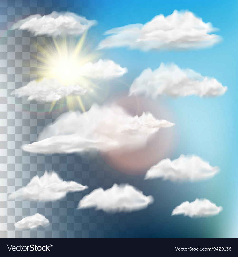 Set of transparent clouds with sun eps 10 vector