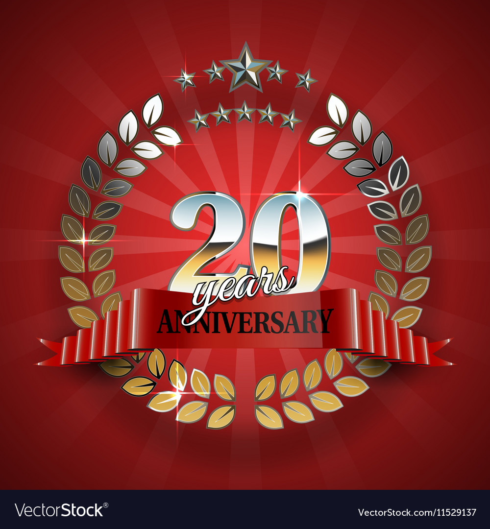 Anniversary 20th gold wreath with red ribbon vector