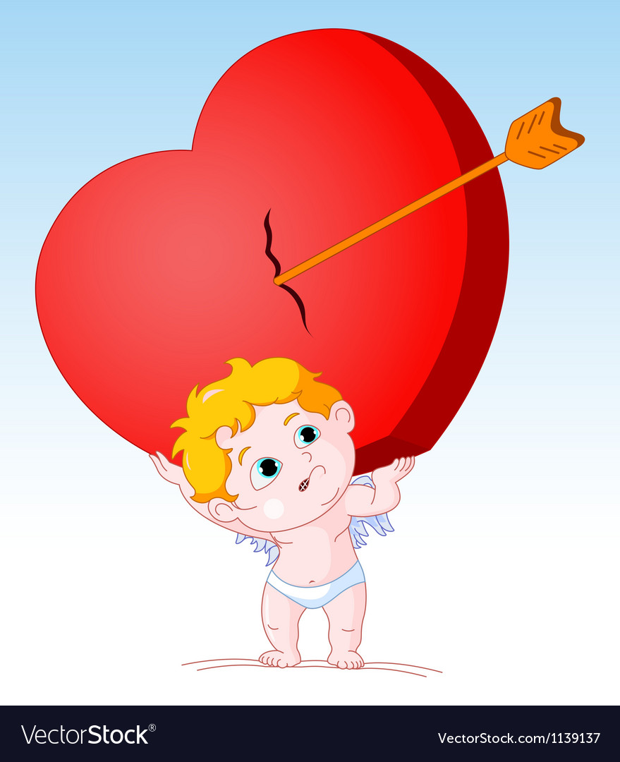 Cupid holding heavy heart vector