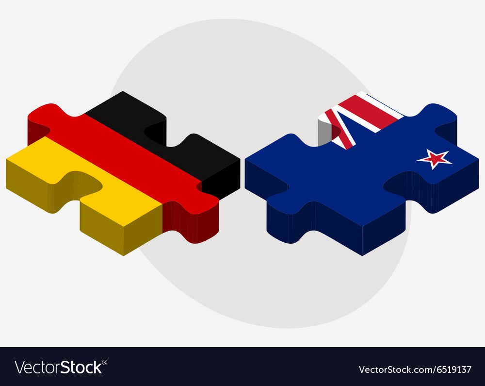 Germany and new zealand flags vector