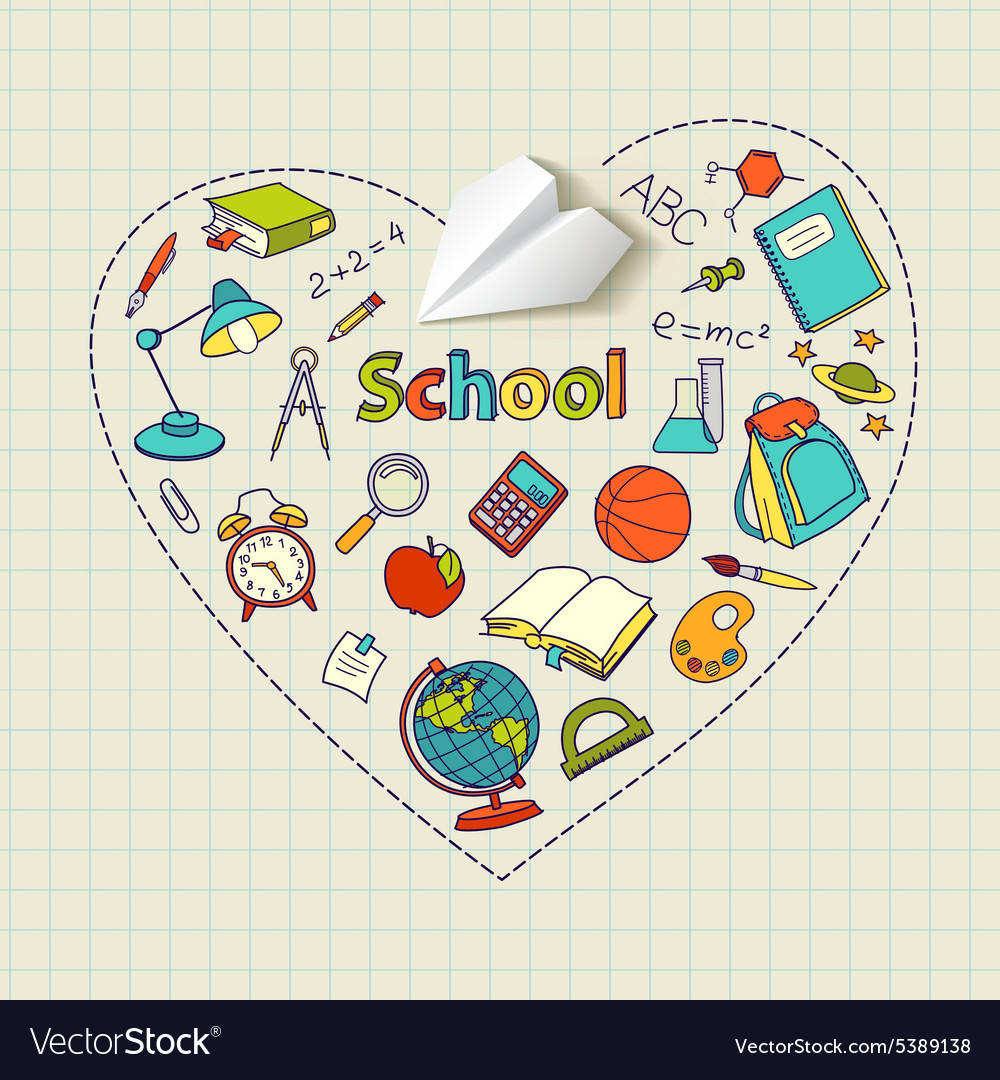 Paper plane and school doodle heartshaped vector