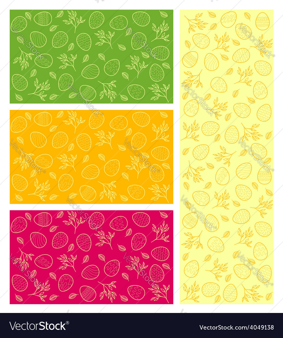 Set of cards with easter pattern vector