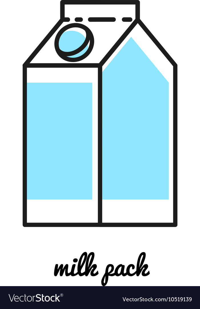 Line art milk pack icon infographic element vector
