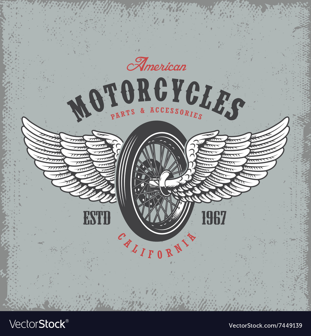 Tshirt print with wheel and wings vector