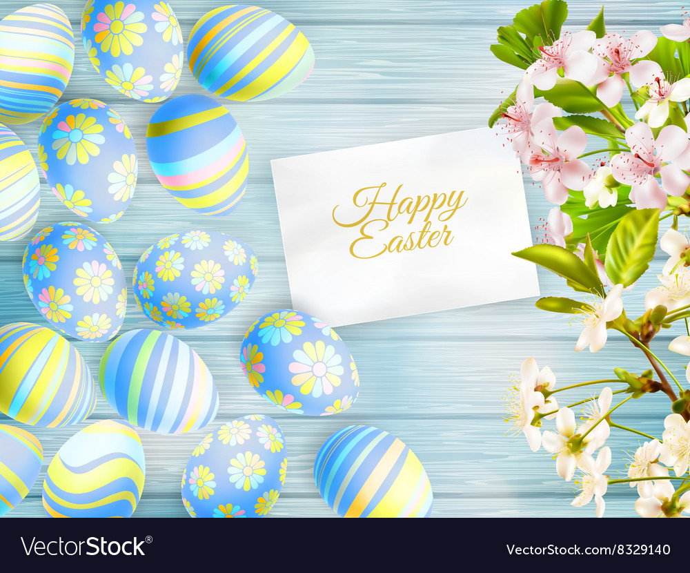 Easter eggs on the wooden table eps 10 vector