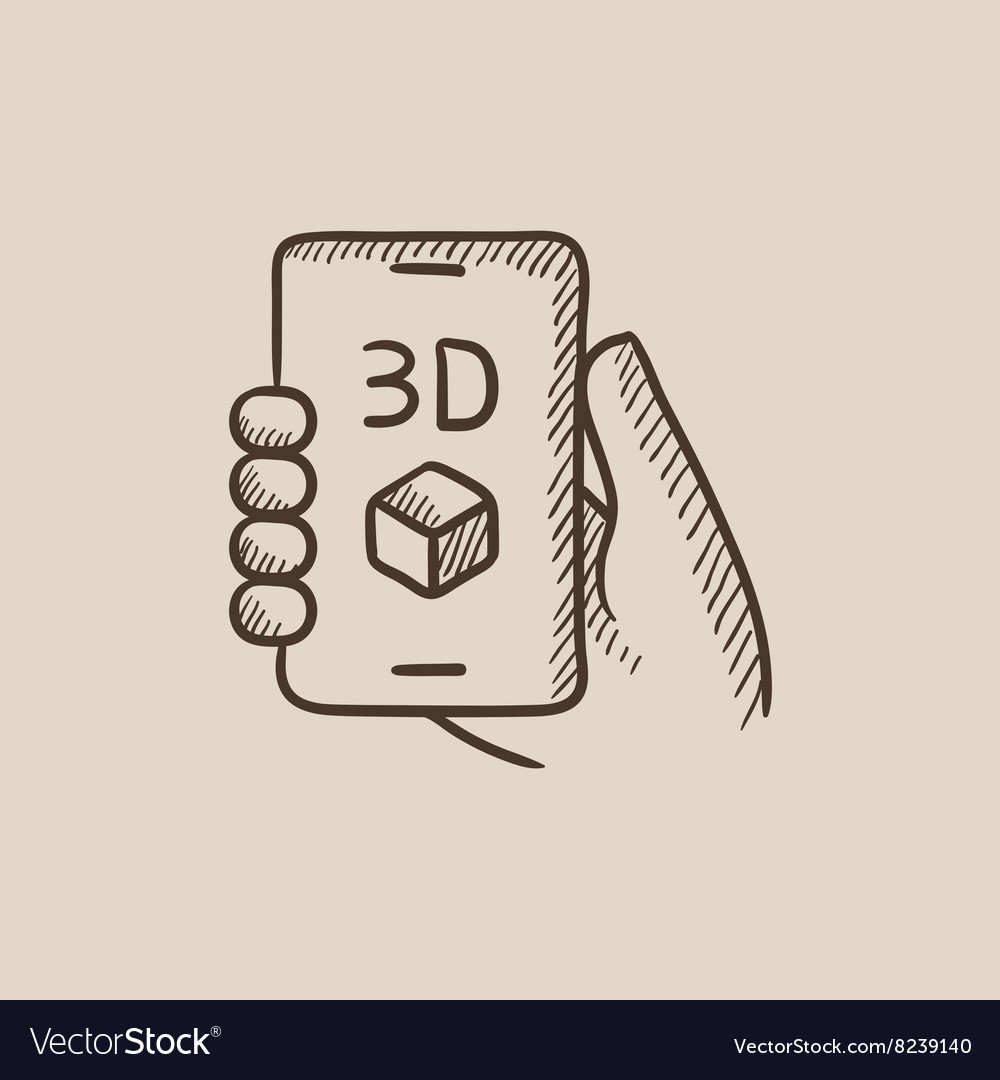 Smartphone with three d box sketch icon vector