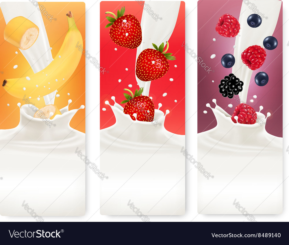 Three fruit and milk banners vector
