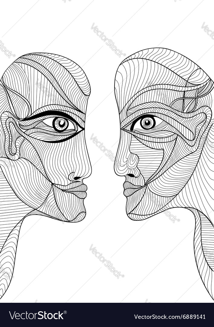 Abstract graphic design with man and woman vector