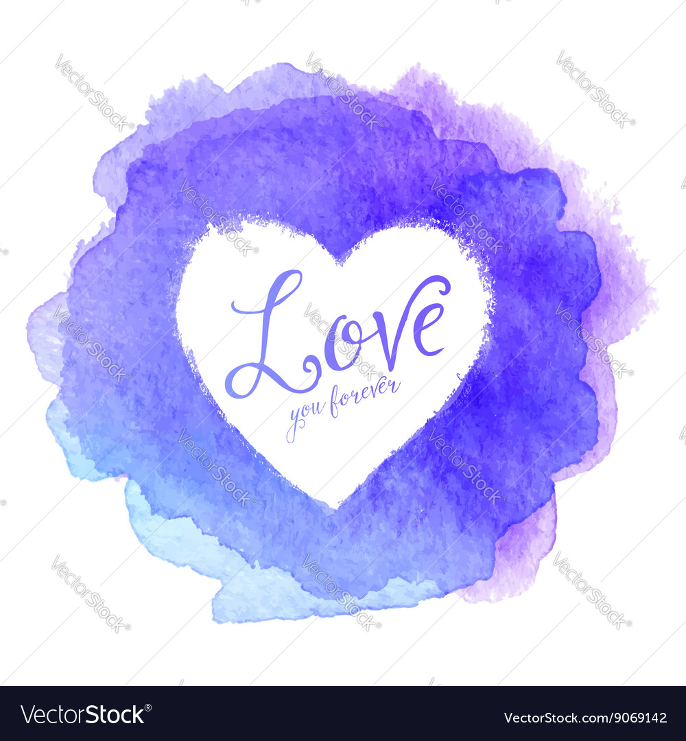 Blue watercolor painted stain with heart inside vector