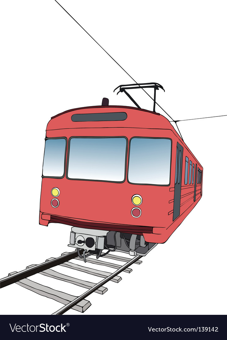 Red subway or metro train vector