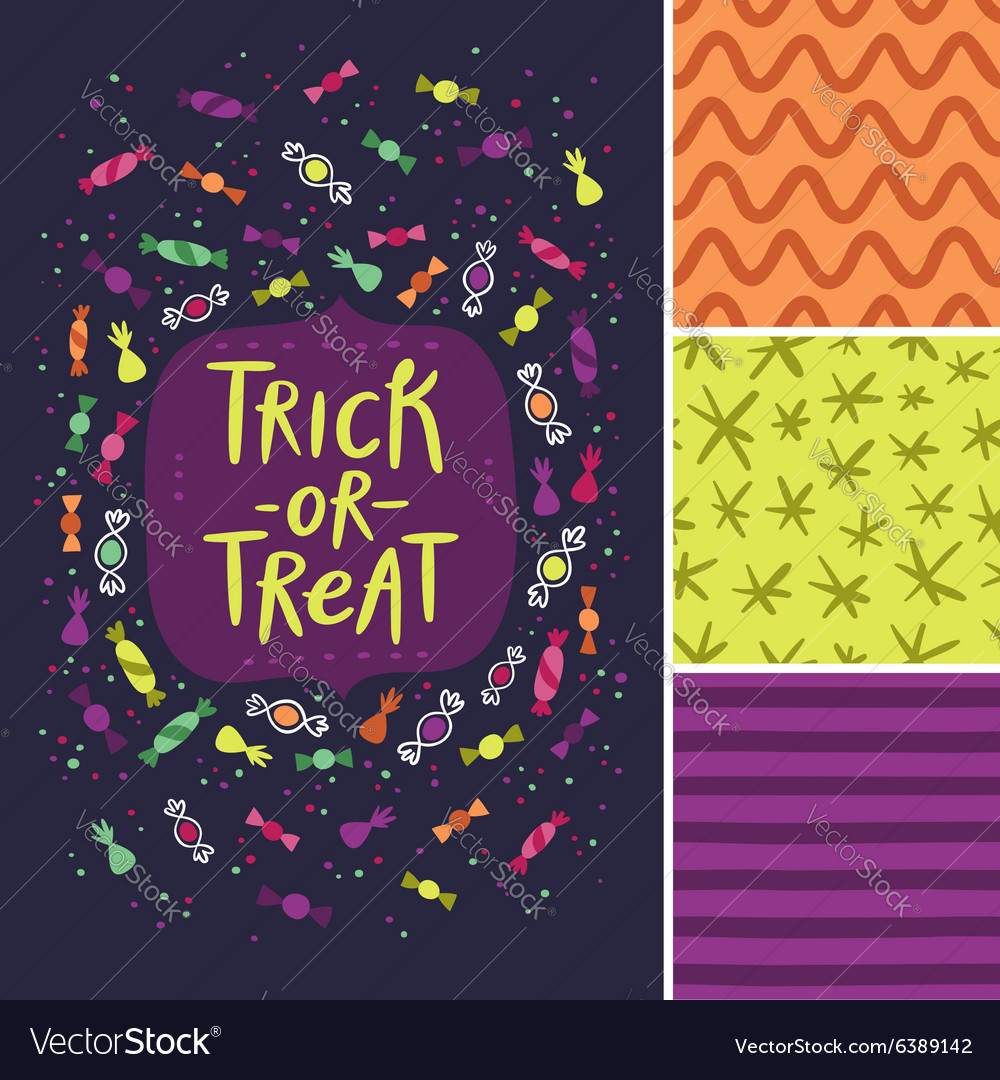 Trick or treat card and patterns vector