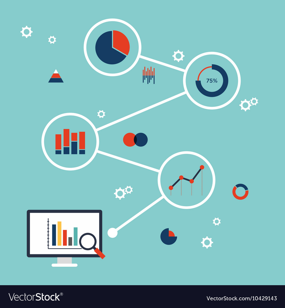 Business data information analysis flat design vector