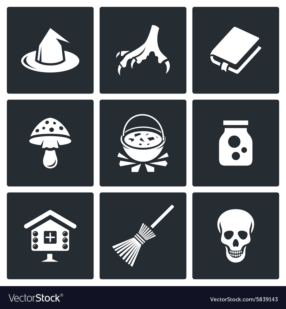 Witch icons vector