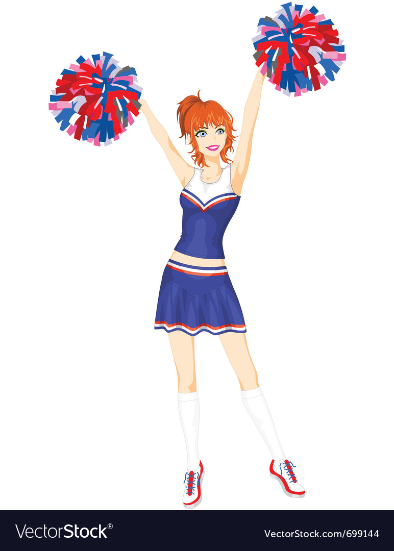 Cheerleader with pompoms vector