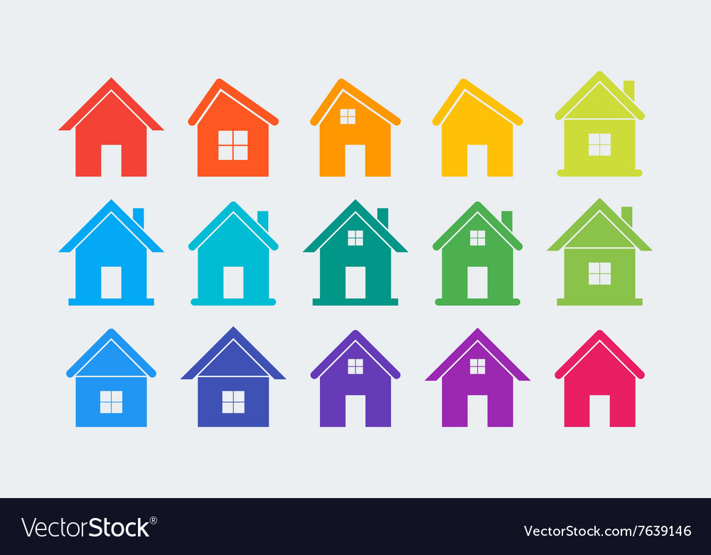15 colored house icons vector