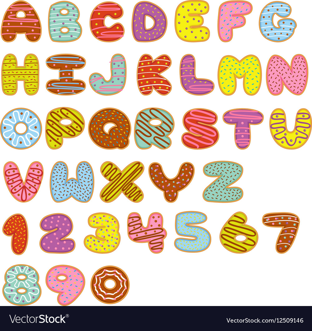 Alphabet and numbers sweet donuts vector