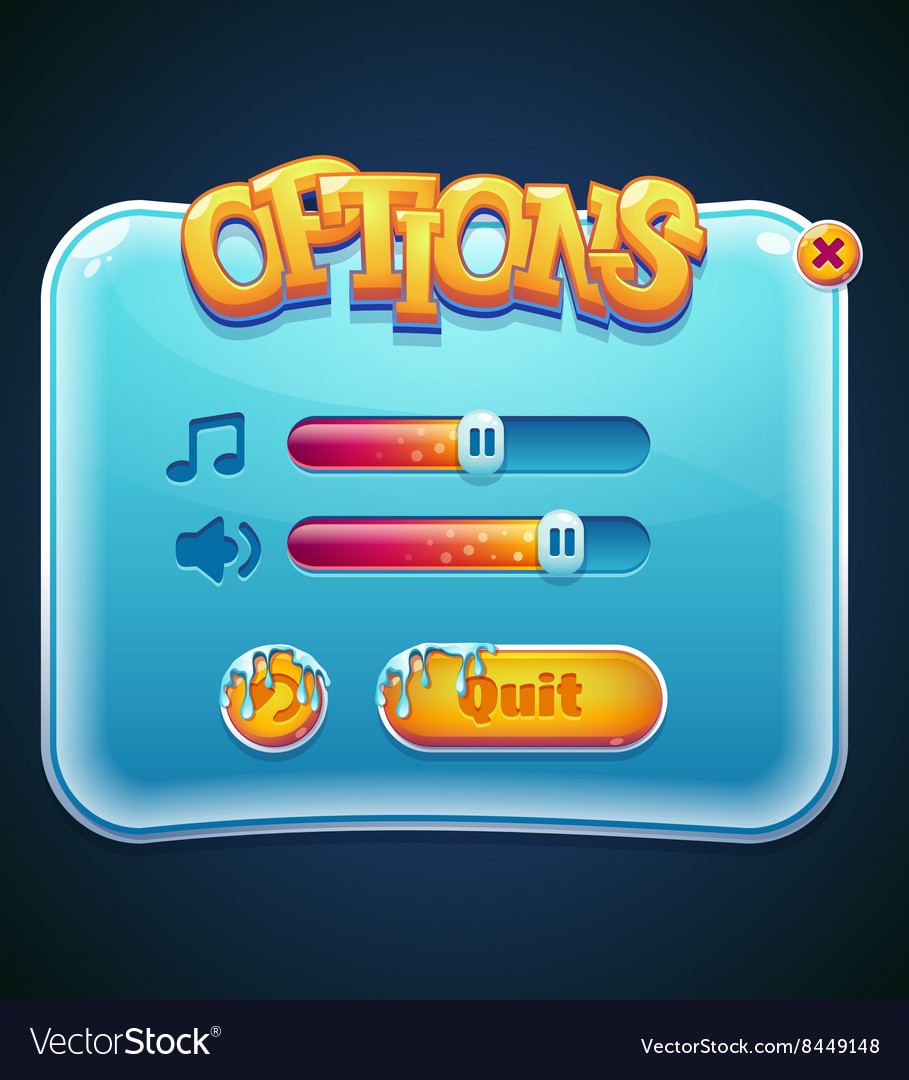 Game options select window for computer app vector