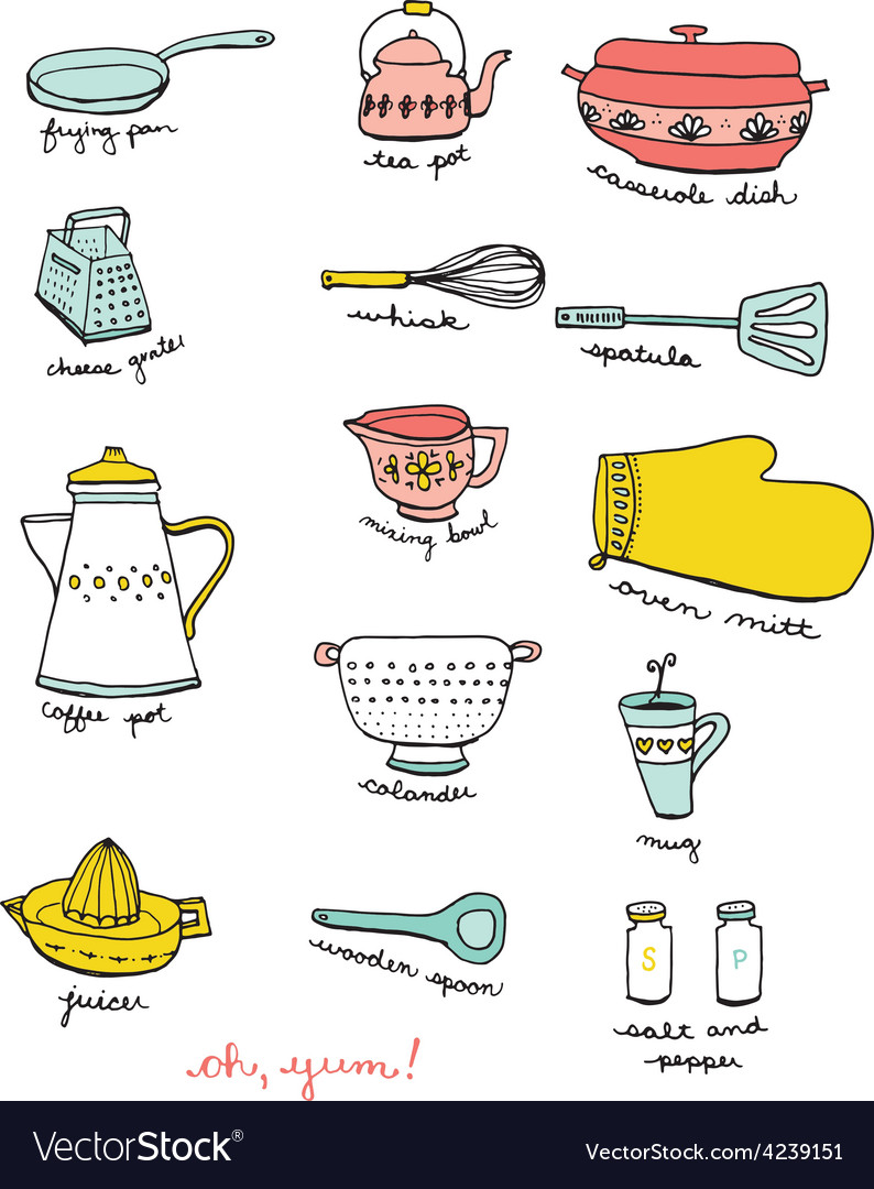 Kitchen and cooking doodles vector