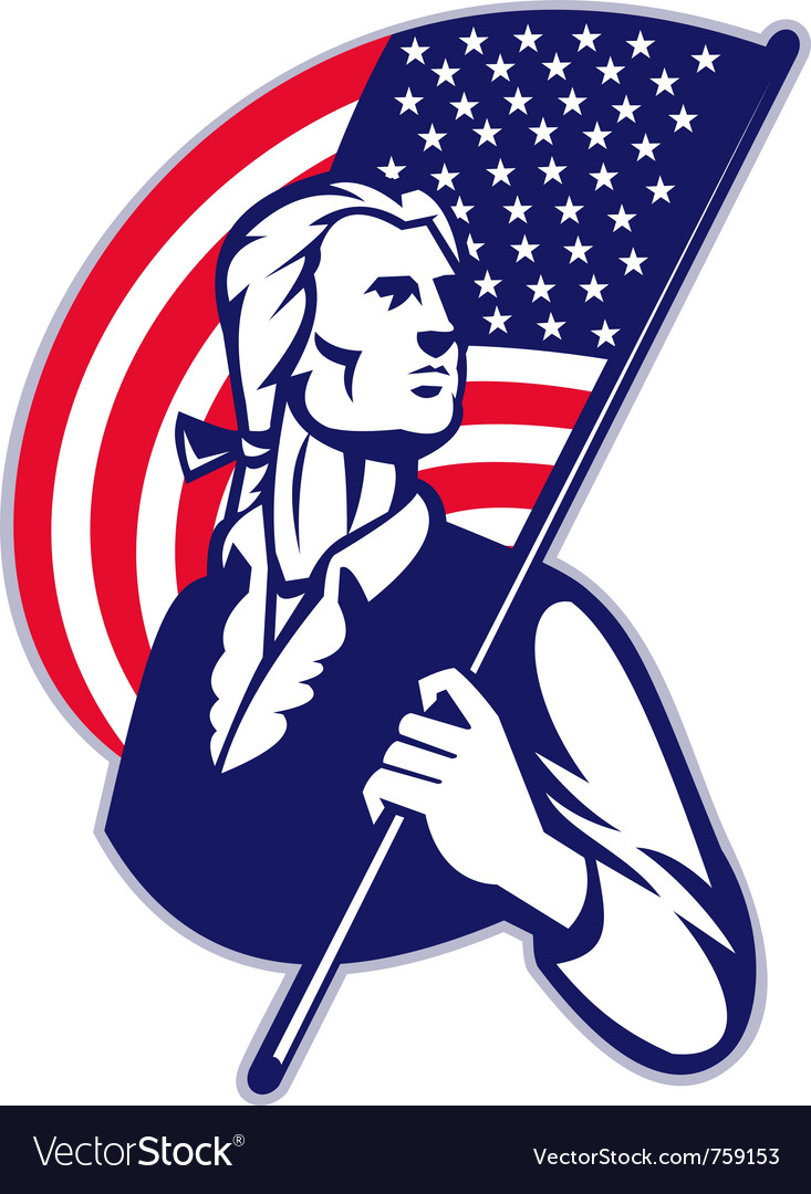 American patriot with flag vector