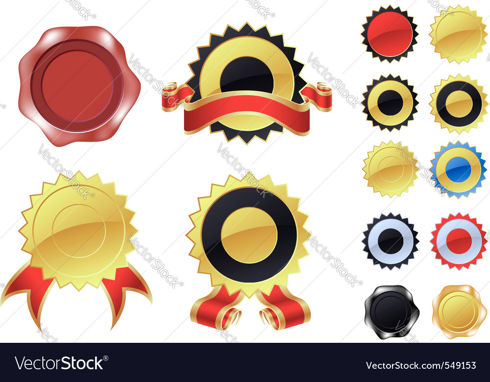 Blank labels and wax seals vector