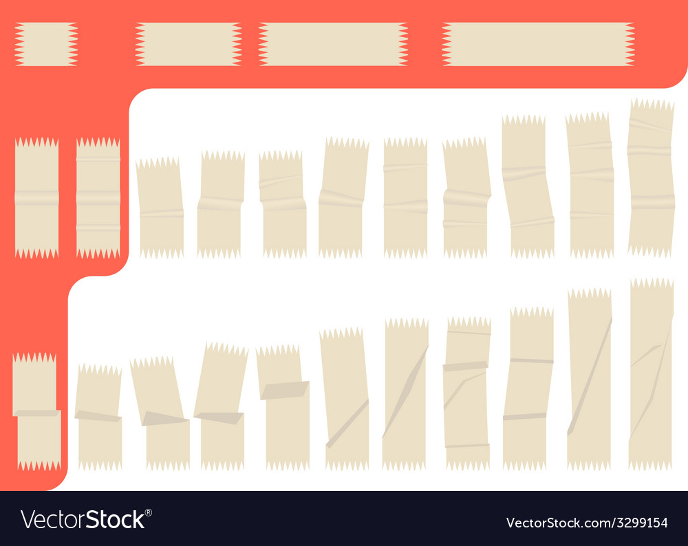Collection of isolated adhesive tape vector