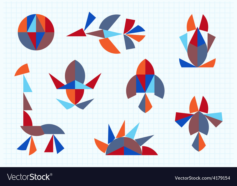 Figures of animals and birds on a white background vector