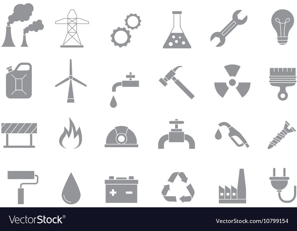 Industry work gray icons set vector
