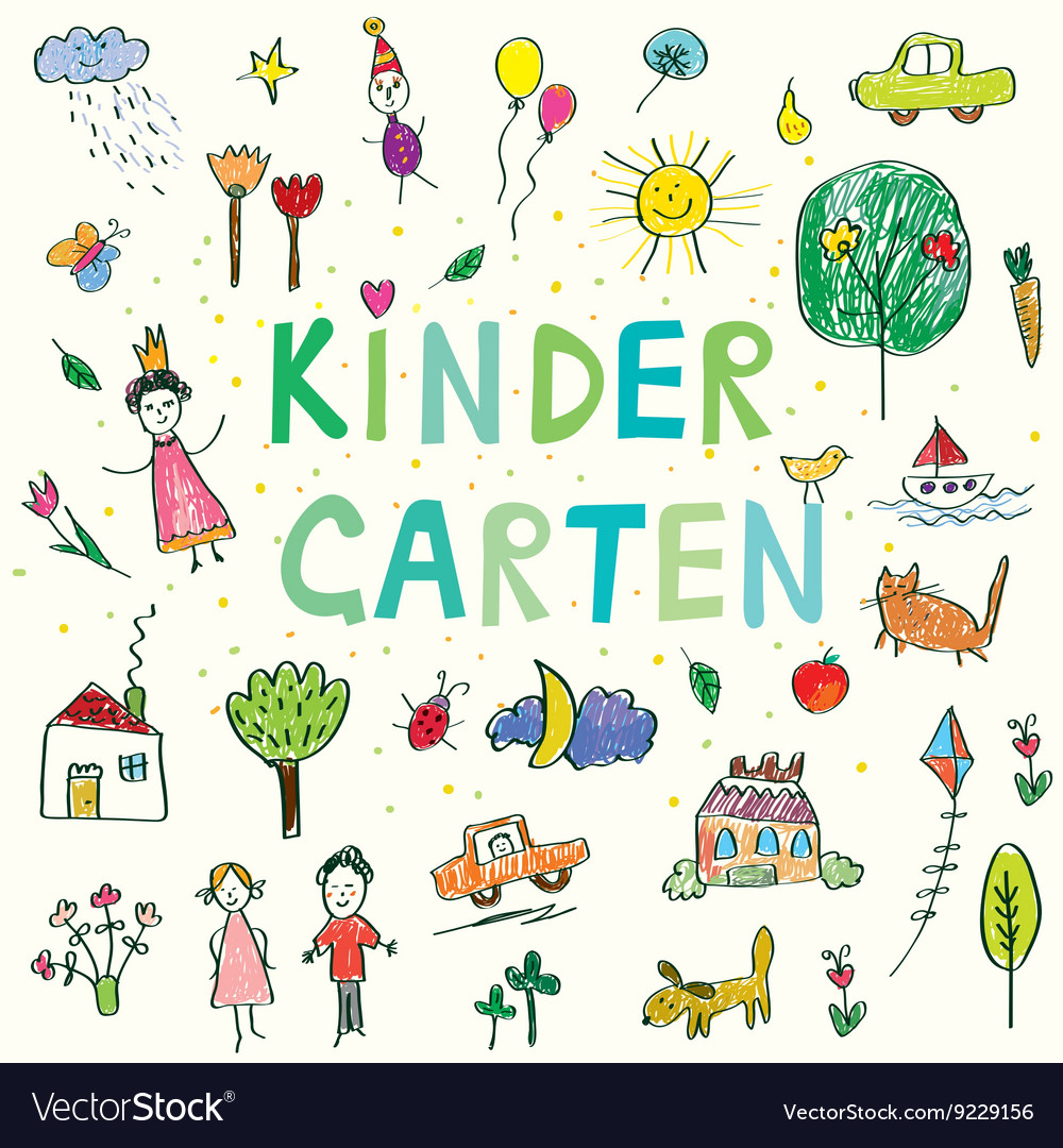 Kindergarten banner with funny kids drawing vector