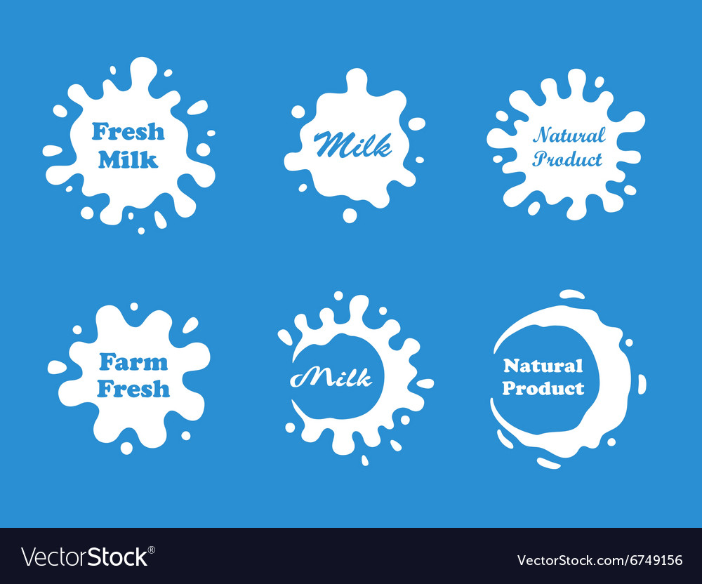 Milk splash set vector