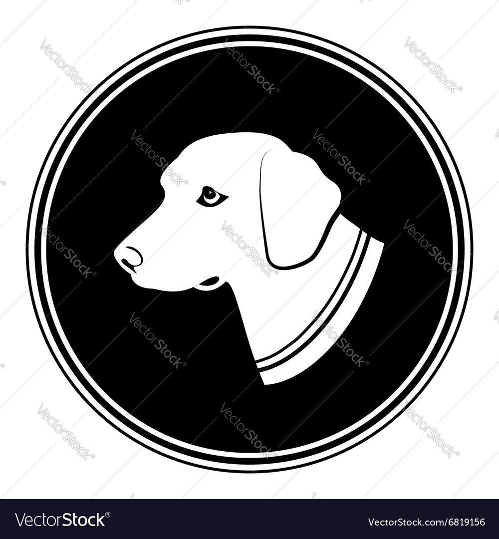 Sign of white dogs head in black round silhouette vector