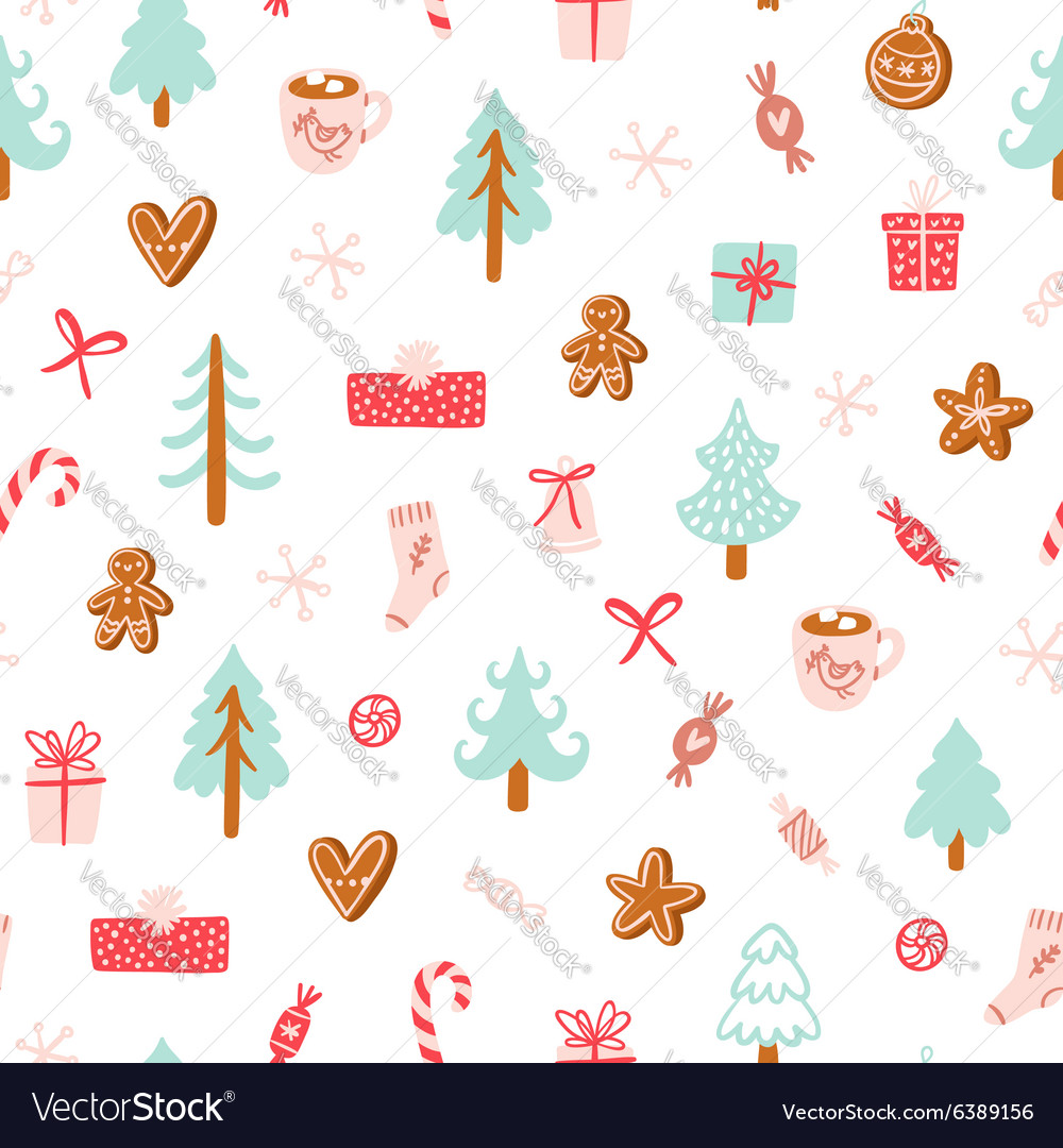 Winter holidays symbols seamless pattern vector