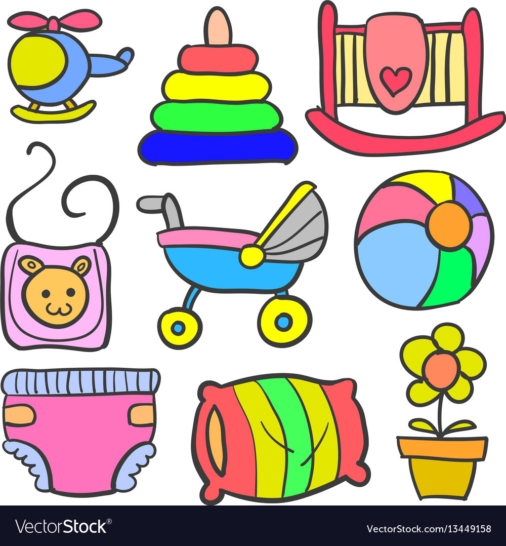 Set of baby object various doodles vector